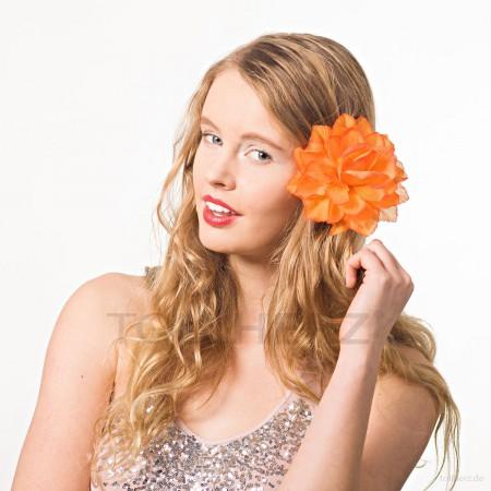 AB-107 Ansteckblume, Haarblume Dahlie in orange, Ø ca. 13 cm, Höhe ca. 4,5 cm