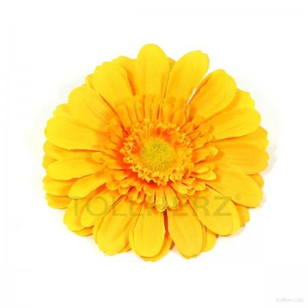 AB-113 Ansteckblume, Haarblume Gerbera in gelb, Ø ca. 13 cm, Höhe ca. 3 cm