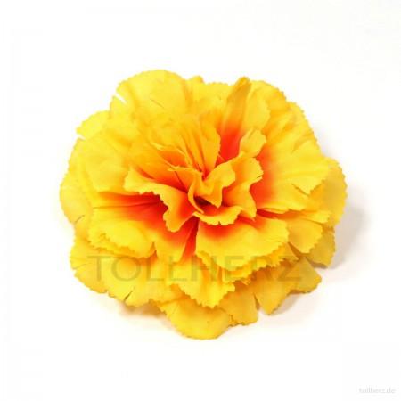 AB-128 Ansteckblume, Haarblume Nelke in gelb-orange, Ø ca. 9 cm, Höhe ca. 3,5 cm