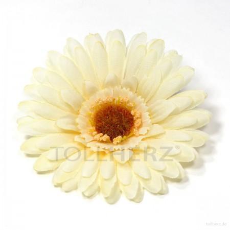 AB-129 Ansteckblume, Haarblume Gerbera in cremeweiß, Ø ca. 12 cm, Höhe ca. 3 cm