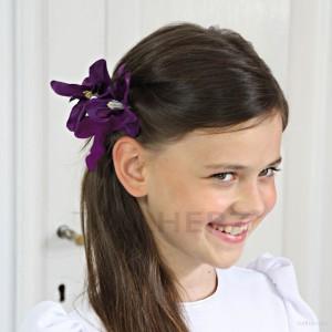 AB-131 Haarblüte, Haarblume in violett, Ø ca. 8,5 cm, Höhe ca. 2 cm