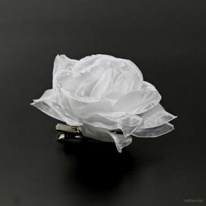 AB-214 Haarrose, Ansteckrose in weiß, Ø 10 cm, Höhe ca. 4 cm
