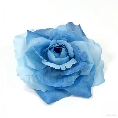 AB-217 Ansteckrose, Haarrose, blau, Ø ca. 12 cm, Höhe ca. 5,5 cm