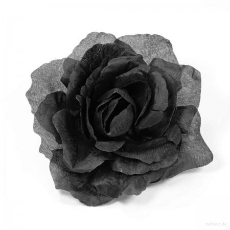 AB-218 Ansteckrose, Haarrose, schwarz, Ø ca. 12 cm, Höhe ca. 5,5 cm