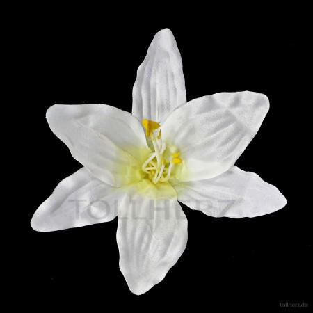 AB-234 Hawaiiblüte, Haarblume Lilie in satinweiß, Ø ca. 13 cm, Höhe ca. 6 cm