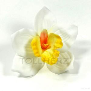 AB-235 Hawaiiblüte, Haarblume Orchidee in weiß-gelb, Ø ca. 12 cm, Höhe ca. 4 cm