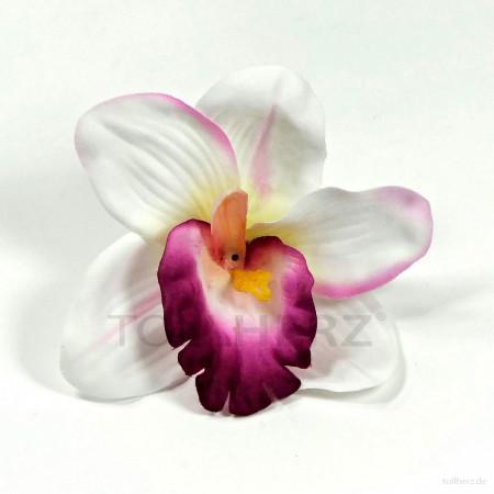 AB-236 Hawaiiblüte, Haarblume Orchidee in weiß-purpur-magenta, Ø ca. 12 cm, Höhe ca. 4 cm