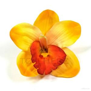 AB-237 Hawaiiblüte, Haarblume Orchidee in gelb-orange, Ø ca. 12 cm, Höhe ca. 4 cm