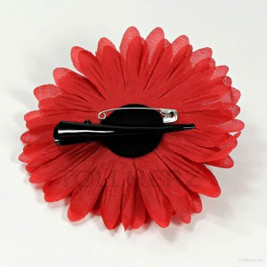 AB-252 Ansteckblume, Haarblume Gerbera in rot, Ø ca. 12,5 cm, Höhe ca. 3 cm