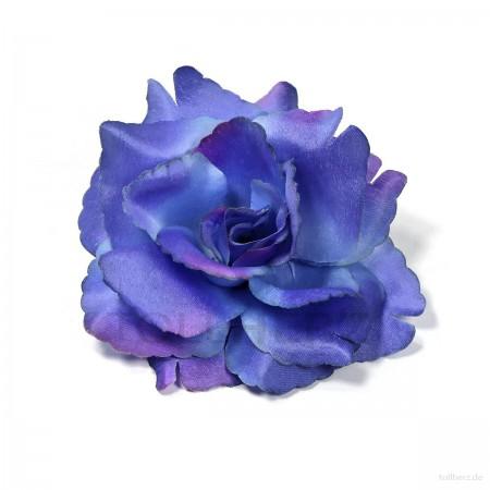 AB-253 Haarrose, Ansteckrose in blau-violett, Ø 10,5 cm, Höhe ca. 4,5 cm