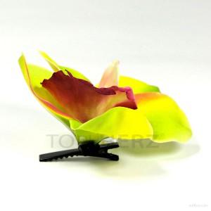 AB-271 Hawaiiblüte, Haarblume Orchidee in neon-gelbgrün-bordeaux, Ø ca. 12 cm, Höhe ca. 4 cm