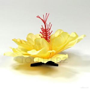 AB-272 Haarblüte, Haarblume Hibiskus in gelb, Ø ca. 13 cm, Höhe ca. 6 cm