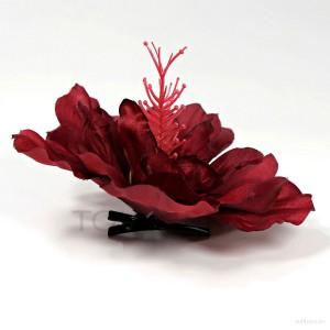 AB-275 Haarblüte, Haarblume Hibiskus in rubinrot, Ø ca. 13 cm, Höhe ca. 6 cm