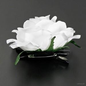 AB-282 Ansteckrose, Haarrose, weiß, Ø ca. 10,5 cm, Höhe ca. 5 cm