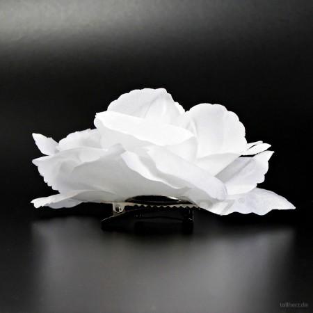 AB-286 Haarrose, Ansteckrose in weiß, Ø 10,5 cm, Höhe ca. 4,5 cm