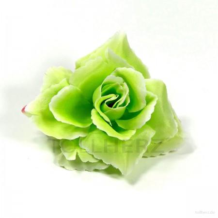 AB-288 Haarrose, Ansteckrose in grün, Ø 10,5 cm, Höhe ca. 4,5 cm
