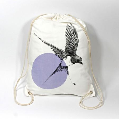 """BB-100 Turnbeutel mit Kunstmotiv """"Schwalbe"""" in schwarz-violett auf cremeweiß, 33x45 cm"""