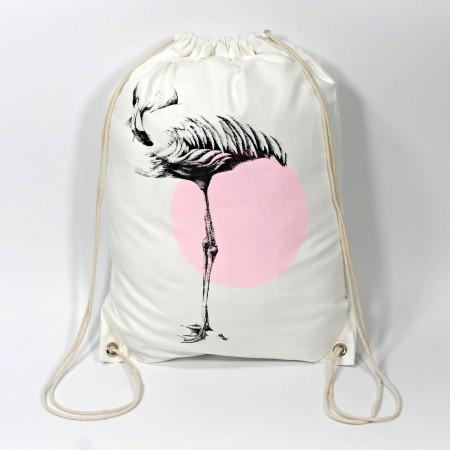 """Turnbeutel mit Kunstmotiv """"Flamingo"""" in schwarz-rosa auf cremeweiß, 33x45 cm"""