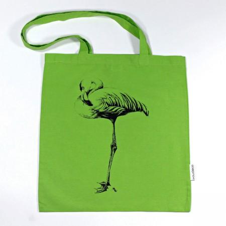 """BT-150 Trage- und Schultertasche mit Kunstmotiv """"Flamingo"""" in grün, 38x42 cm"""