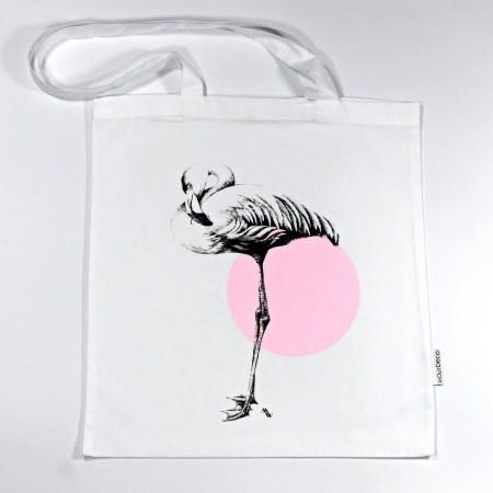 """BT-250 Trage- und Schultertasche mit Kunstmotiv """"Flamingo"""" in schwarz-rosa auf weiß, 38x42 cm"""