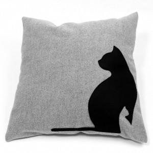 DK-101 Sofakissen, Dekokissen black cats, grau, 40x40 cm_a