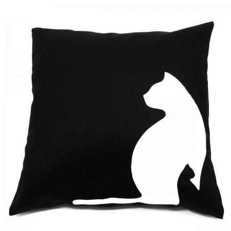 DK-102 Sofakissen, Dekokissen black cats in schwarz, 40x40 cm_a