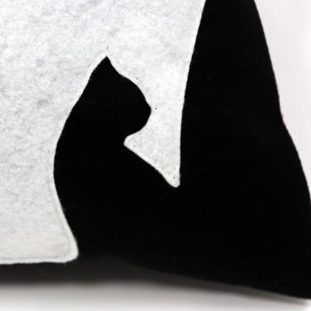 DK-102 Sofakissen, Dekokissen black cats in schwarz, 40x40 cm_b
