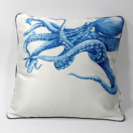 """DK-116 Zierkissen mit Kunstmotiv """"Octopus"""" in blau auf cremeweiß, 40x40 cm"""