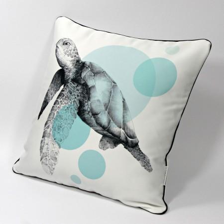 """DK-118 Zierkissen mit Kunstmotiv """"Meeresschildkröte"""" schwarz auf cremeweiß, 40x40 cm"""