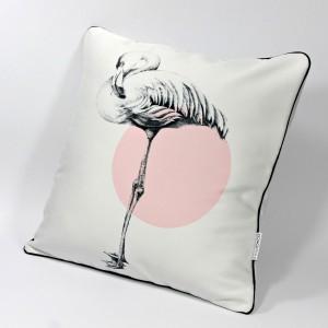 """DK-123 Sofakissen mit Kunstmotiv """"Flamingo"""" schwarz auf cremeweiß, 40x40 cm"""