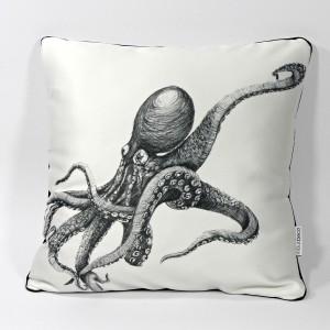 """DK-126 Sofakissen mit Kunstmotiv """"Octopus"""" in schwarz auf cremeweiß, 40x40 cm"""