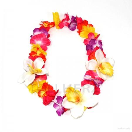 HK-301 Hawaiikette, Blumenkette mit XXL-Blüten in bunt