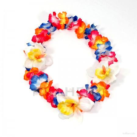 HK-302 Hawaiikette, Blumenkette mit XXL-Blüten in neon-bunt