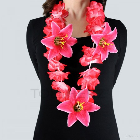 HK-303 Hawaiikette, Blumenkette mit XXL-Blüten in rot