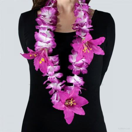 HK-304 Hawaiikette, Blumenkette mit XXL-Blüten in violett