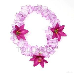 HK-305 Hawaiikette, Blumenkette mit XXL-Blüten in violett-weiß