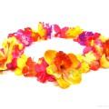 HK-307 Hawaiikette, Blumenkette mit XXL-Blüten in bunt-gelb