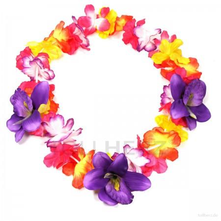HK-308 Hawaiikette, Blumenkette mit XXL-Blüten in bunt-violett
