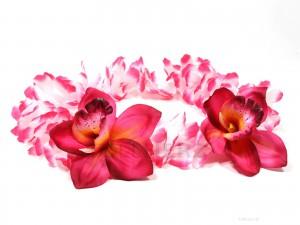 HK-309 Hawaiikette, Blumenkette mit XXL-Blüten in pink-weiß