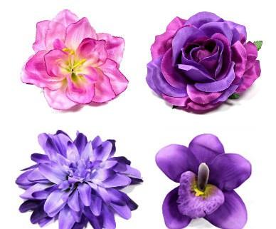 Ansteckblüten und Haarblüten in den Farben lila und violett