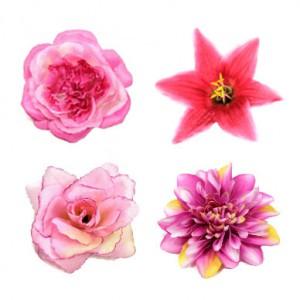 Ansteckblüten und Ansteckrosen in den Farben rosa, pink und magenta